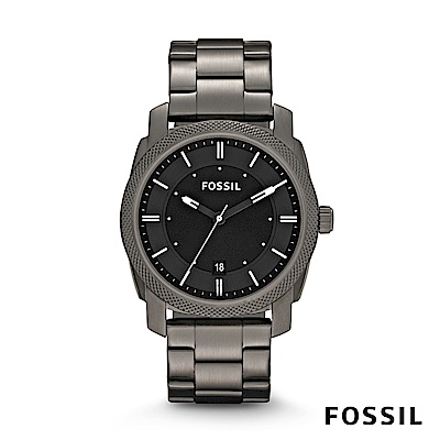 FOSSIL MACHINE SMOKE 灰色不鏽鋼男錶 42mm FS4774