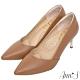 Ann'S嚮往的女人味-性感弧線柔軟小羊皮電鍍細跟尖頭高跟鞋-棕 product thumbnail 1