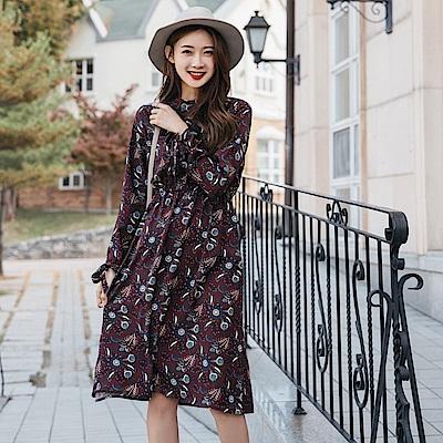 復古感印花袖綁帶鬆緊洋裝-OB大尺碼