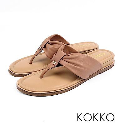 KOKKO - 簡約風尚抓皺夾腳涼拖鞋 - 奶茶棕