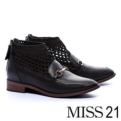 低跟鞋 MISS 21 個性英倫網襪造型全真皮尖頭樂福低跟鞋-黑