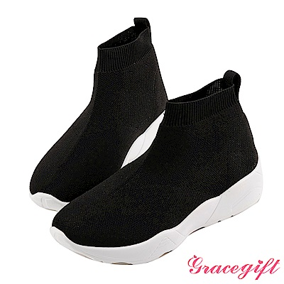 Grace gift-素面織帶低筒襪套鞋 黑