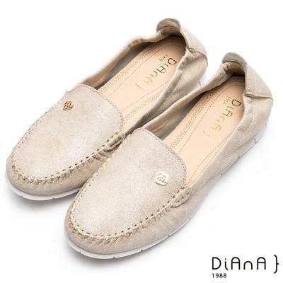 DIANA 漫步雲端焦糖美人款--玫瑰花釦雲彩超軟Q休閒鞋–米