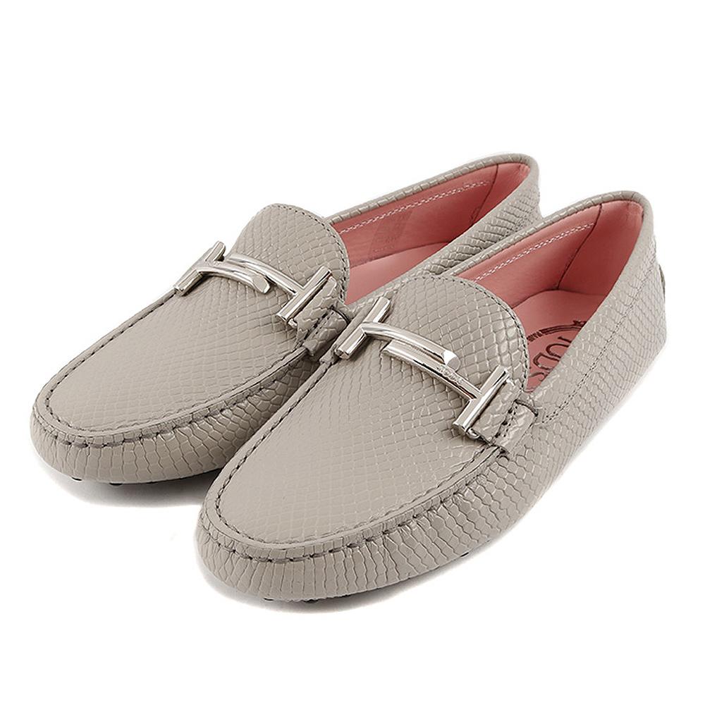 TOD'S雙T金屬設計牛皮壓紋豆豆鞋 (灰色)
