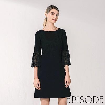 EPISODE - 氣質蕾絲拼接設計洋裝(黑)