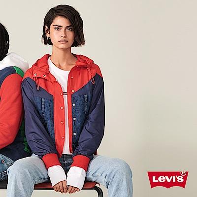 Levis 女款 風衣外套 復古運動風 異材質拼接 Sportwear Logo