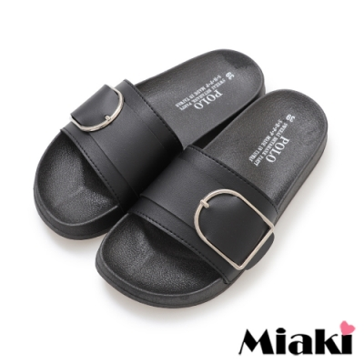 Miaki-拖鞋MIT素色輕便休閒平底涼拖-黑