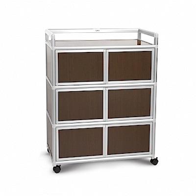 Cabini小飛象-黑桃木3.0尺鋁合金6門收納櫃88.5x50.8x115.3cm