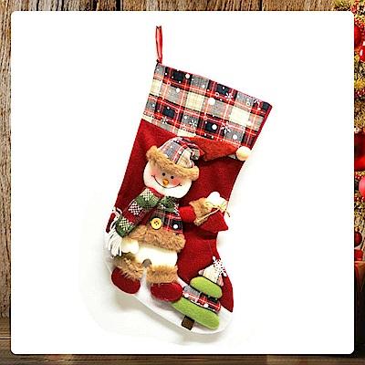 交換禮物-摩達客 18吋蘇格蘭格紋聖誕襪-雪人款YS-SC160015