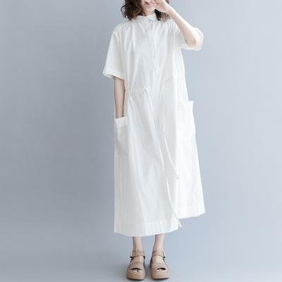 米蘭精品 連身裙短袖洋裝-翻領純色腰間抽帶女裙子2色73xz2