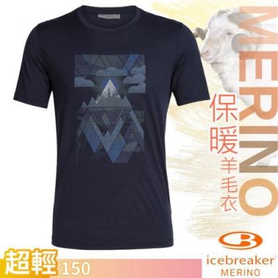 Icebreaker 男新款 美麗諾羊毛 TECH-LITE 圓領短袖休閒上衣_深夜藍