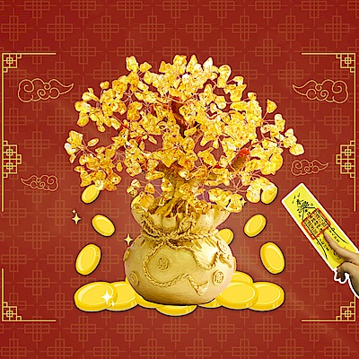 【玄翊閣】居家擺飾水晶招財樹(小號/贈招財靈符)