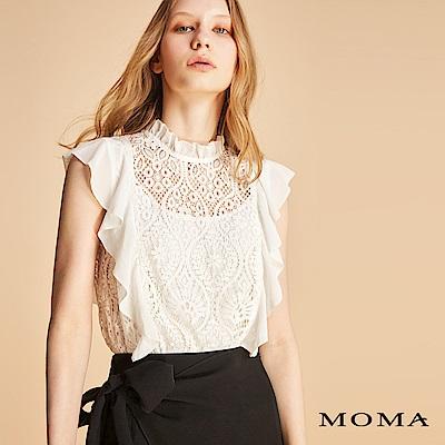MOMA 車骨蕾絲雪紡袖上衣