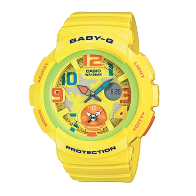 CASIO卡西歐 Baby-G少女時代地圖旅行錶-黃x44mm(BGA-190-9B)
