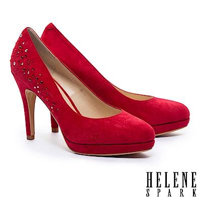高跟鞋 HELENE SPARK 高雅奢華閃耀水鑽羊麂皮美型高跟鞋-紅