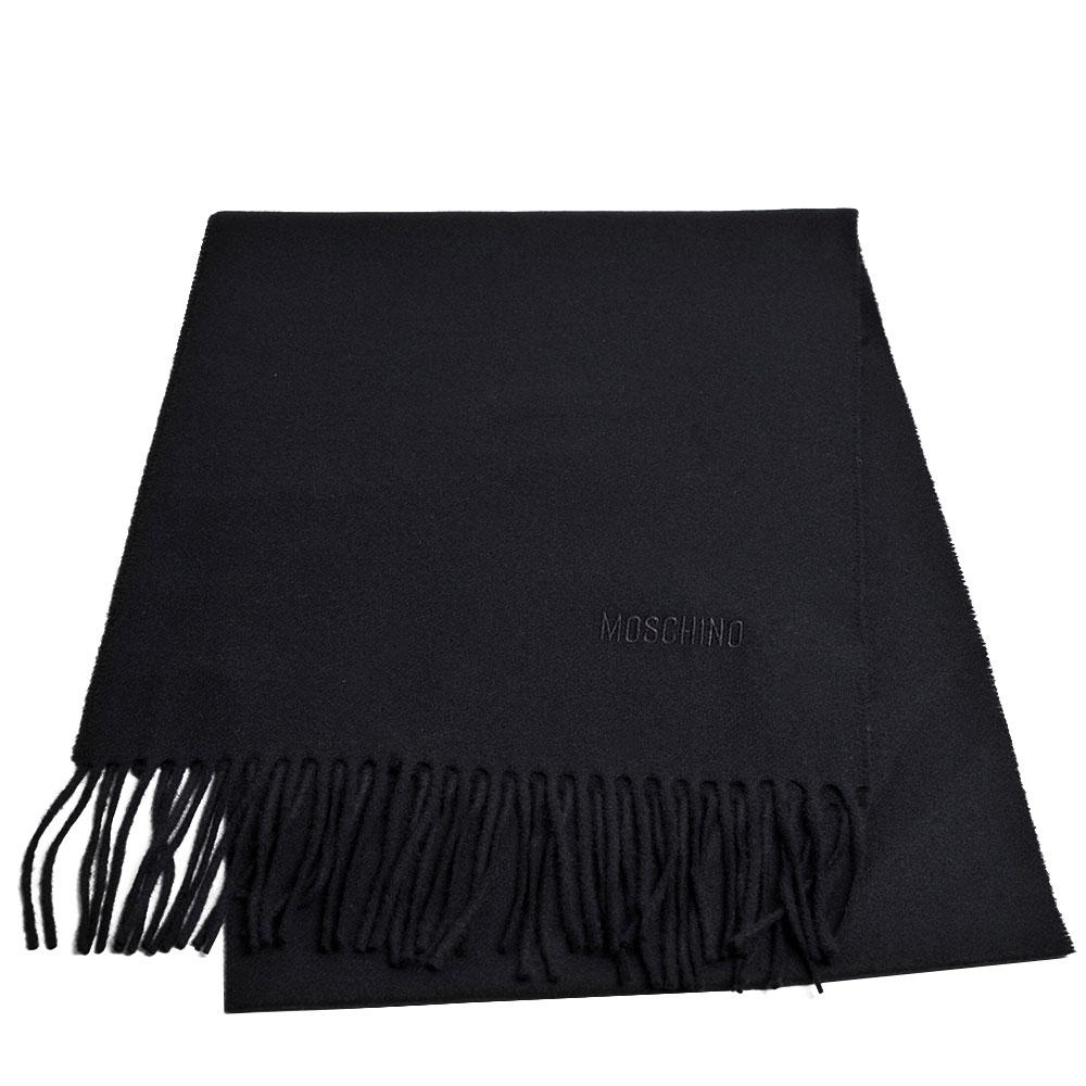 MOSCHINO 義大利製美麗諾羊毛字母LOGO刺繡羊毛圍巾(5色任選)