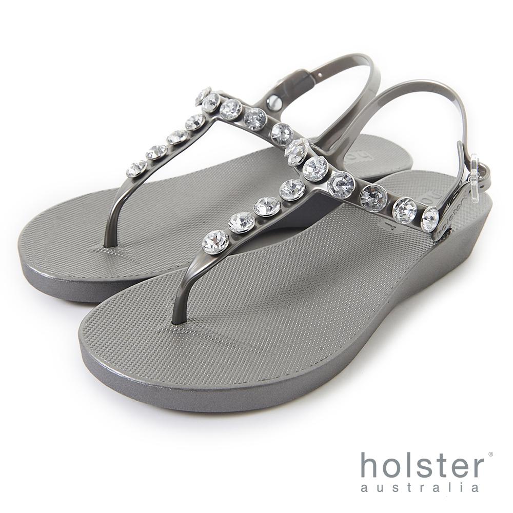 HOLSTER  果凍水鑽T字帶厚底涼鞋-銀灰色