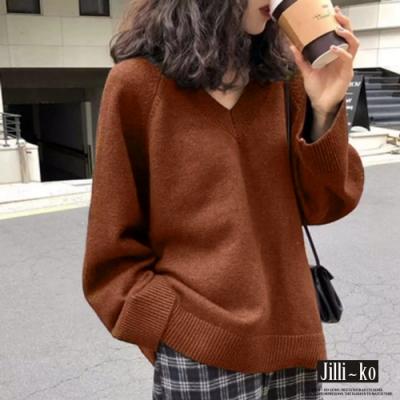 JILLI-KO V領純色慵懶風針織毛上衣- 棗紅/黑
