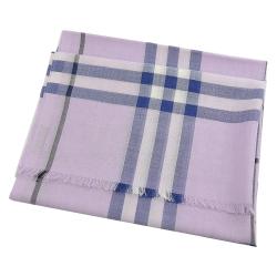 BURBERRY 經典格紋混羊毛長圍巾(粉紫)