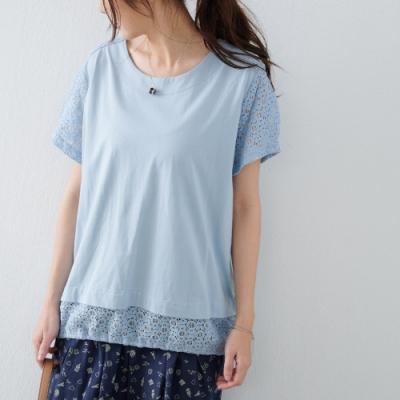 慢 生活 拼接立體蕾絲袖棉質上衣- 淺藍/白