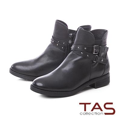 TAS仿舊擦色交疊皮帶扣牛皮粗跟短靴-率性黑