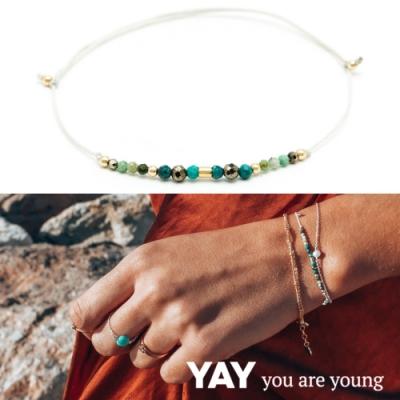 YAY You Are Young 法國品牌 Riviera土耳其藍孔雀石手鍊 綠色X白色