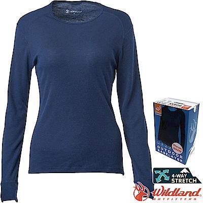 Wildland 荒野 H2663-72深藍色 女Highest圓領保暖衣 發熱衣