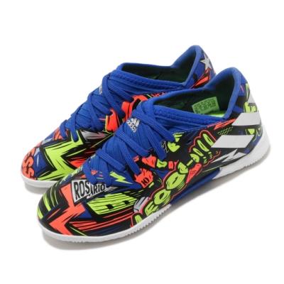 adidas 足球鞋 Nemeziz Messi 19 3 童鞋 愛迪達 套入式 室內場 EVA中底 中童 藍 彩 EH0600