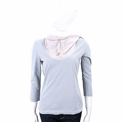 FABIANA FILIPPI 抽繩鬆領拼接棉質上衣(灰藍x粉)