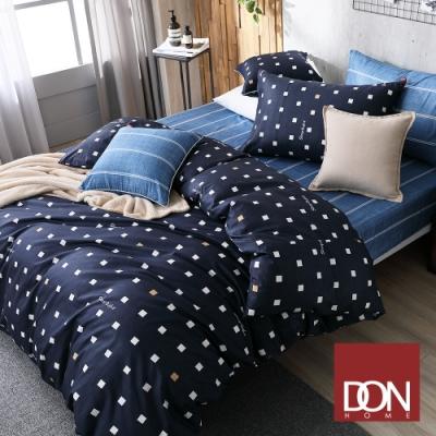DON極簡日常 加大四件式200織精梳純棉被套床包組(線條-牛仔藍+方格-水手藍)