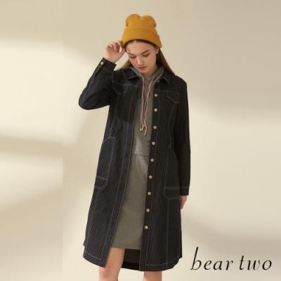beartwo-質感排釦綁帶收腰洋裝外套(兩色)