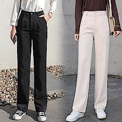 韓版高腰闊腿直筒褲S-XL(共兩色)-WHATDAY