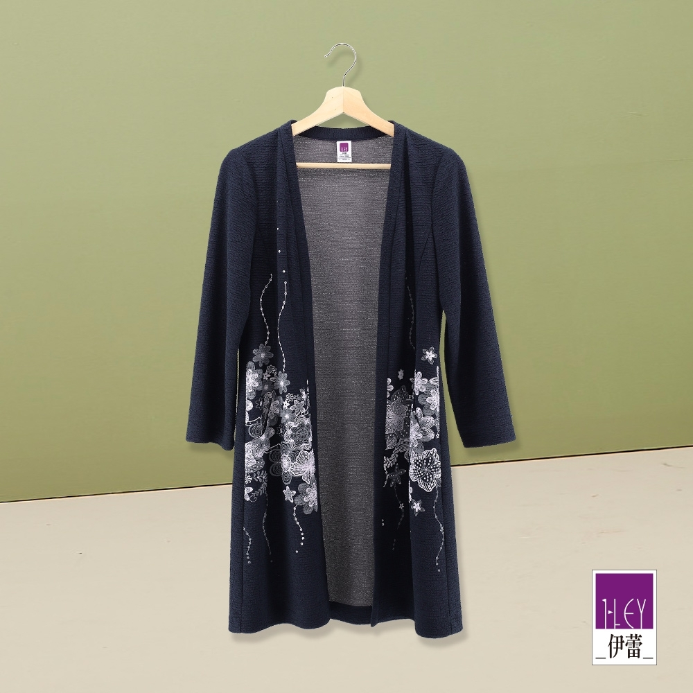 ILEY伊蕾 花朵刺繡波紋長版外套(藍)
