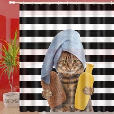180x180cm 貴貓浴防潑水浴簾(一個)+伸縮桿(一支)