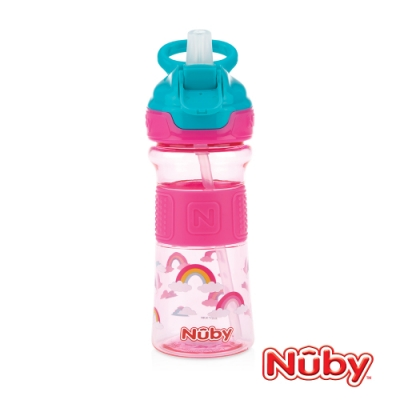 Nuby Tritan運動水杯-粉彩紅(藍綠提把)