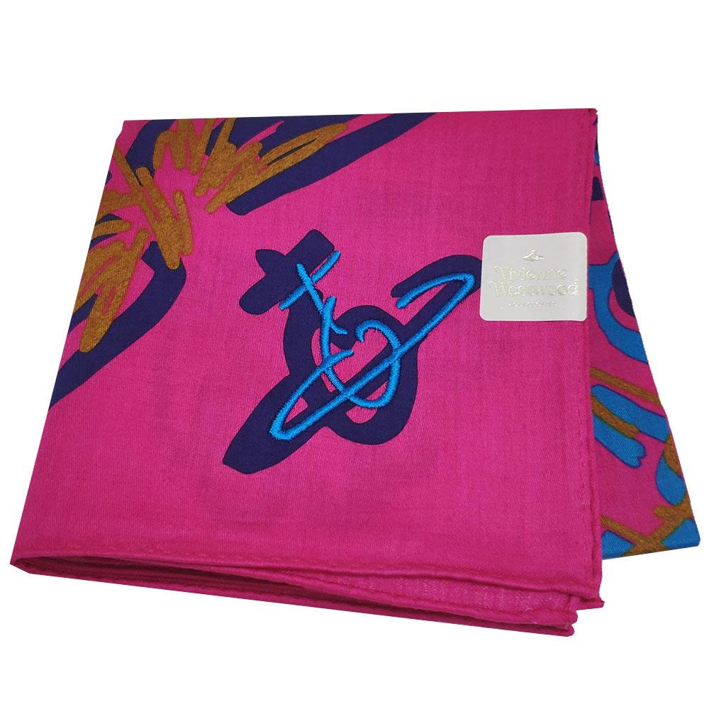 VIVIENNE WESTWOOD 品牌行星塗鴨LOGO行星刺繡帕領巾(桃紅色)