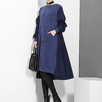 異材顯瘦拼接摺裙後擺洋裝-(藍色)Andstyle