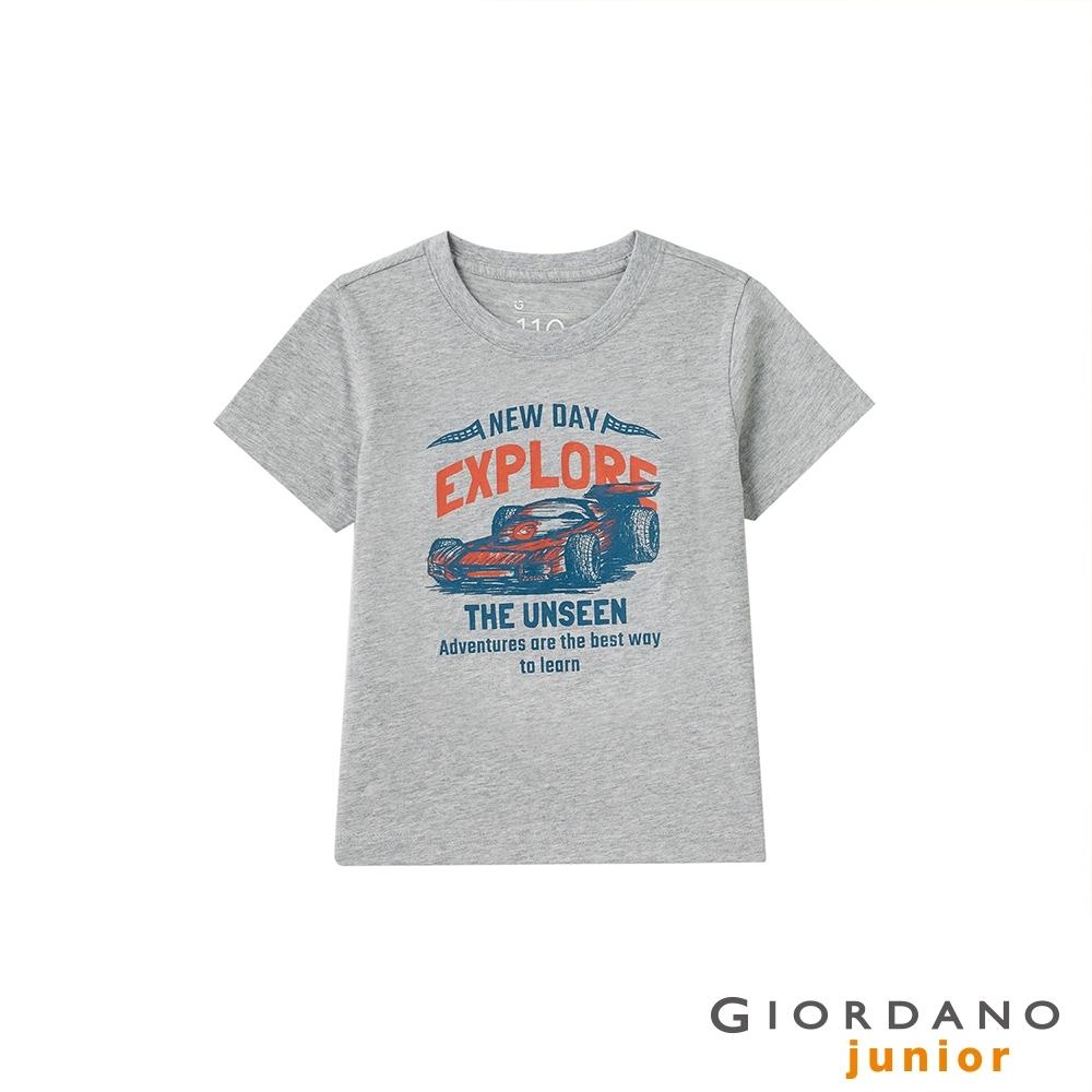 GIORDANO 童裝素描風印花短袖T恤 - 22 中花灰