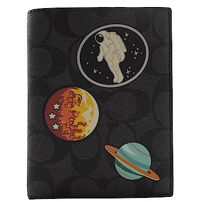 COACH NASA圖樣黑灰PVC護照夾