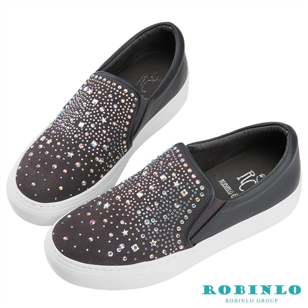Robinlo絢麗感寶石鑲鑽平底休閒鞋 灰色