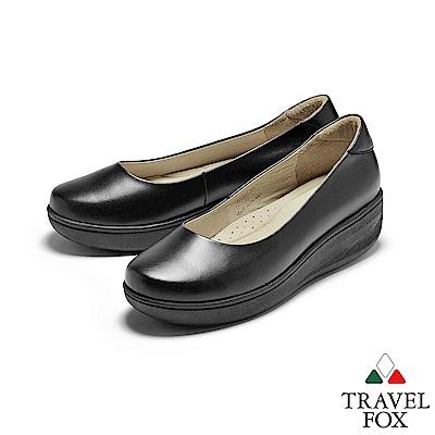 TRAVEL FOX(女) 沃門的 女性專屬輕量工作楔型鞋 - 偉大黑