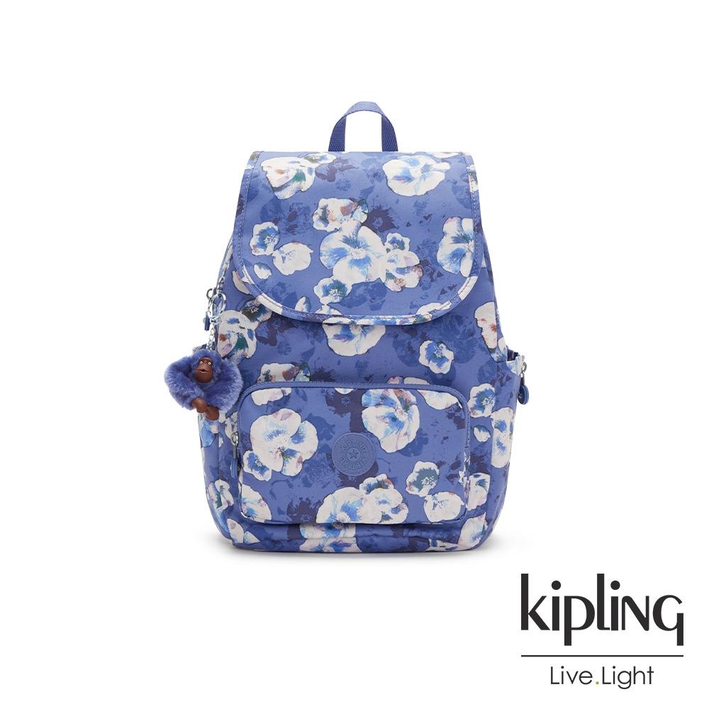 Kipling 氣質渲染印花掀蓋式拉鍊後背包-CAYENNE S