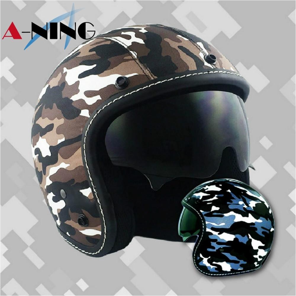 ANING-皮革迷彩帽 匠工精緻車縫 騎士帽 gogoro 鏡片 復古帽 內墨鏡  K1 (藍灰色)