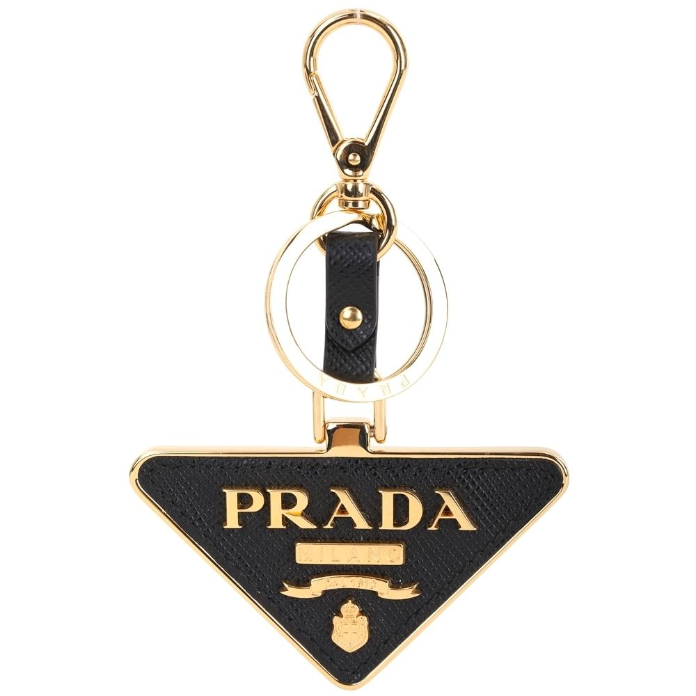 PRADA Saffiano Toys 三角徽標金字防刮牛皮鑰匙圈(黑色)