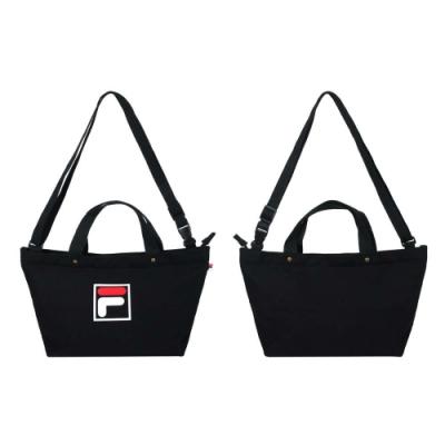 FILA 中型兩用帆布包-手拿包 側背包 斜背包 肩背包 BMU-9009-BK 黑白紅