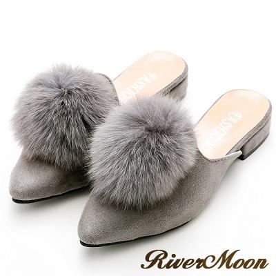 River&Moon韓版氣質細絨毛球穆勒尖頭跟鞋-灰