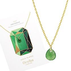 Orelia英國品牌 五月綠玉髓誕生石金色項鍊
