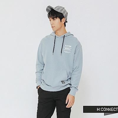 H:CONNECT 韓國品牌 男裝-隨性風圖文帽T-藍