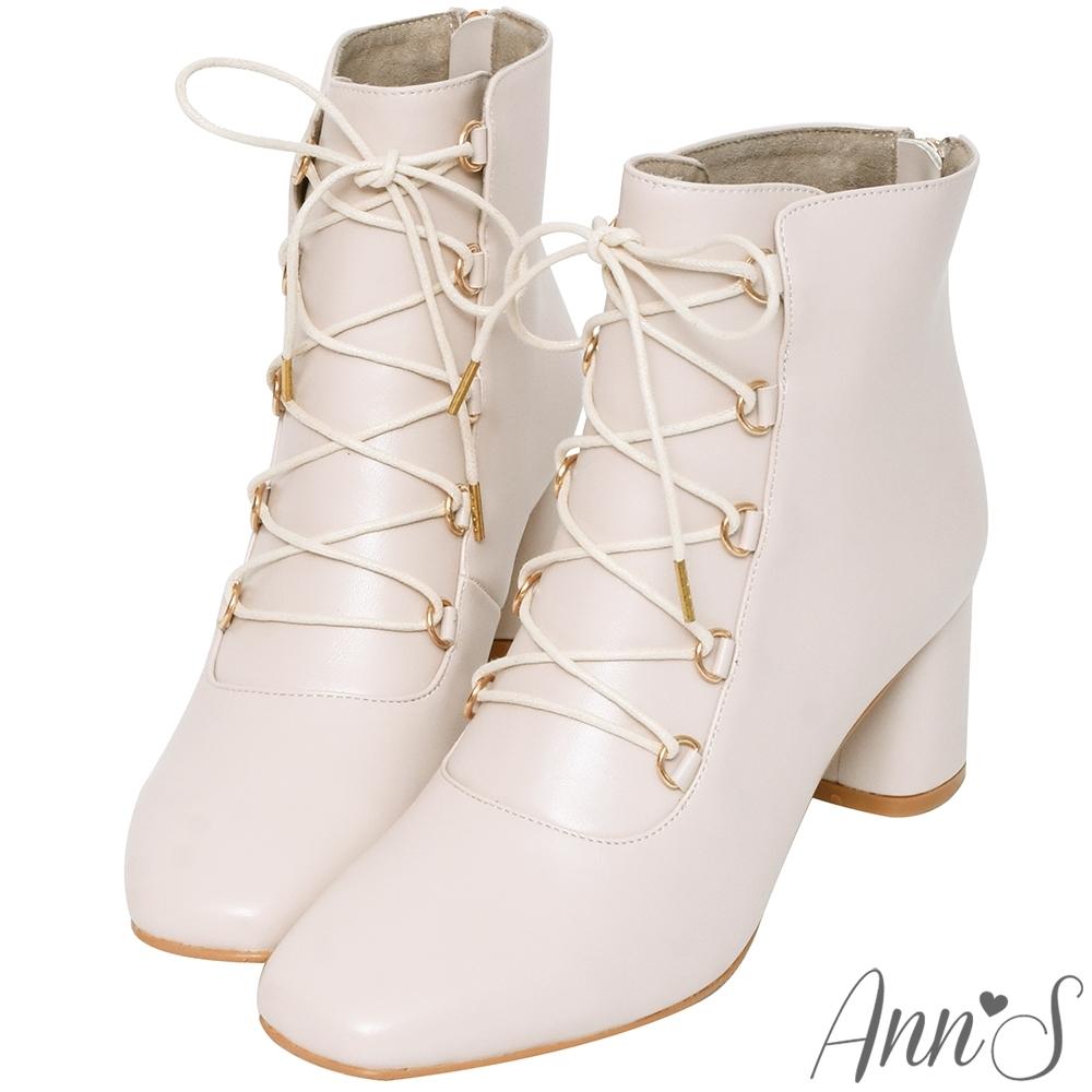 Ann'S腿的馬甲線-金環綁帶方頭粗跟短靴-杏