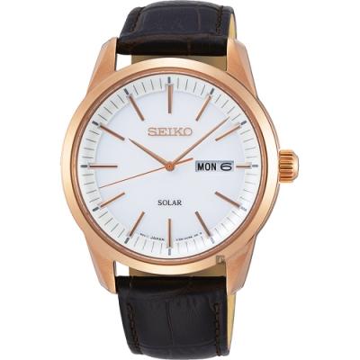 SEIKO精工 CS 太陽能SOLAR 手錶(SNE530P1)-銀x咖啡色錶帶/40mm